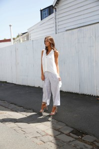 Power pants are your best friend. Carla wears the Match Point Top and Perennial Culloutes.