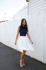 Crop tops are okay, just don't show too much skin. Carla wears the Pleasantville Skirt and Circe Top